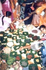 Women exchanging seeds at the seed festival